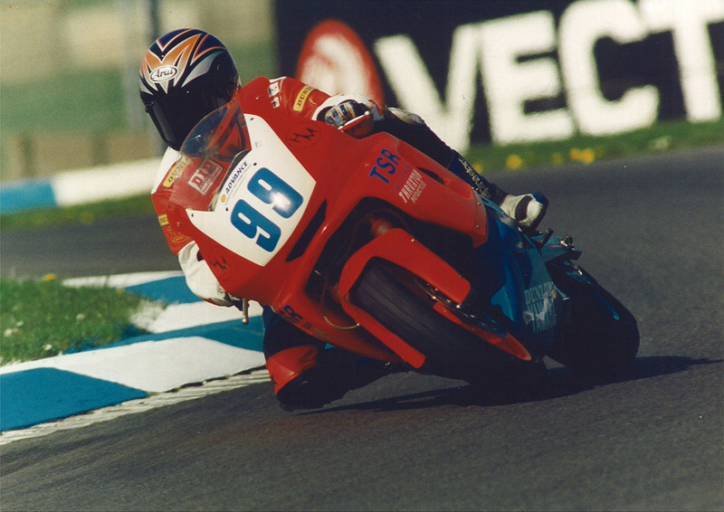 British Supersport Championship.  Donington Park 1997.  TSR Racing Yamaha YZF600R