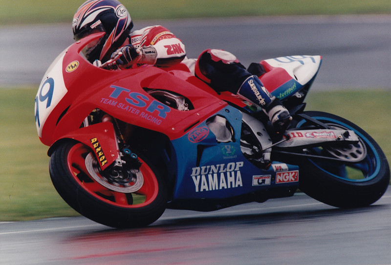 British Supersport Championship. A wet Brands Hatch 1997. TSR Yamaha YZF600R