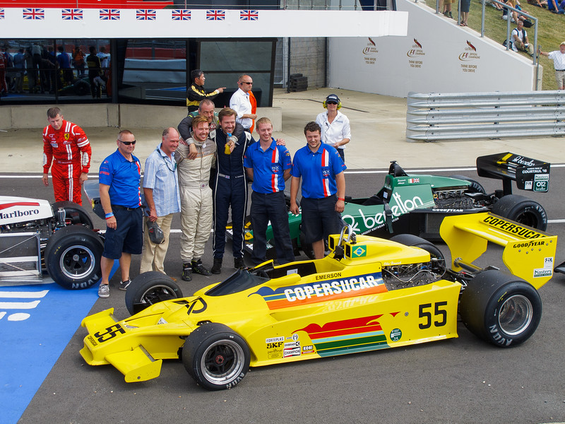 Ollie Hancock celebrates after FIA Masters Historic F1 race