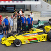 Ollie Hancock celebrates after FIA Masters Historic F1 race