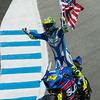 Tony Elias celebrates down the Corkscrew after winning at Laguna Seca.