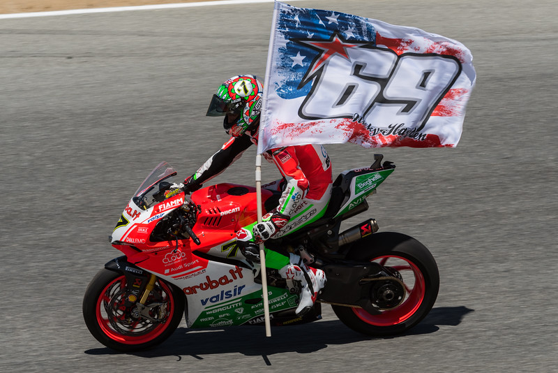 Chaz Davies pays tribute to Nicky Hayden after winning at Laguna Seca.