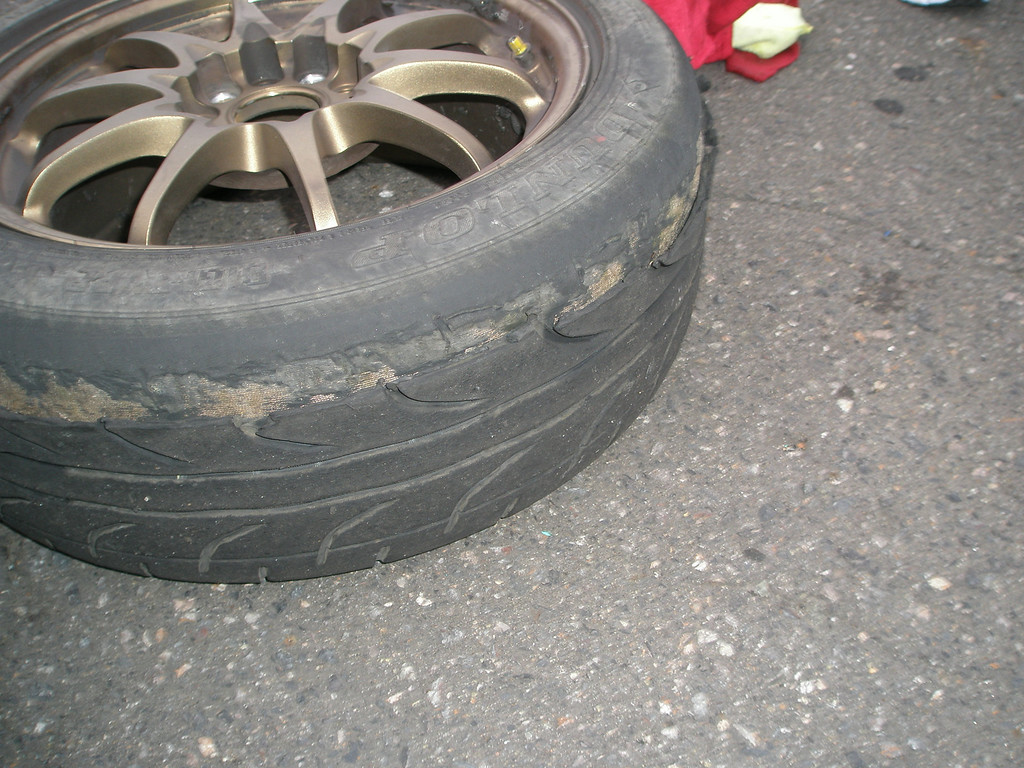 shreaded - new tyres only lasted 2 hours
