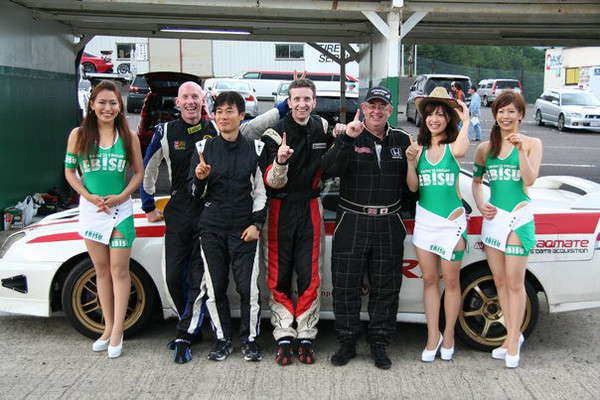 bunny ears never get boring!<br /> <br /> from left:  Race queen, me, pit boss sumi san, Tom, Simon, assorted race queens