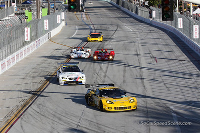Corvette Racing #4 Leads RLL BMW #56 Into Turn 1 At Toyota Grand Prix of Long Beach ALMS