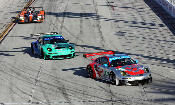 Flying Lizard Motorsports #44 and Team Falken #17 Porsches Into Turn 1 - Toyota Grand Prix of Long Beach ALMS
