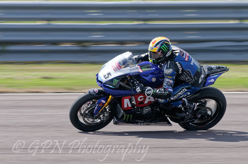 Josh Brookes on board the McAMS Yamaha team's Yamaha in the Bennetts British Superbike Championship With Pirelli