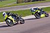 Gary Johnson (Suzuki GSXR 1000) leads Peter Carr (Yamaha R1 1000)