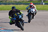Jason Oakes (Yamaha R6) leads Max Symonds (Triumph 675)