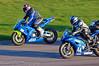 Terry Merritt (Honda CBR 600 RR) dives inside Tom Russell (Yamaha R6)