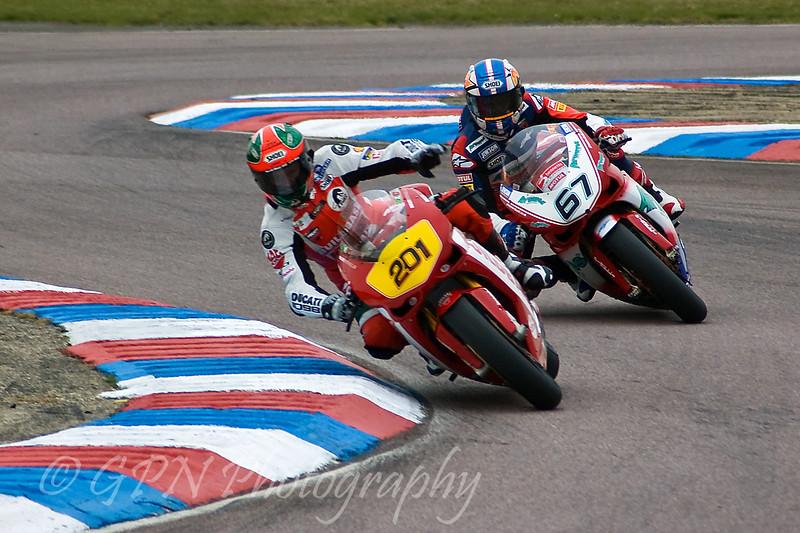 John Laverty - Buildbase NW200 Ducati leads Shane Byrne - Airwaves Ducati