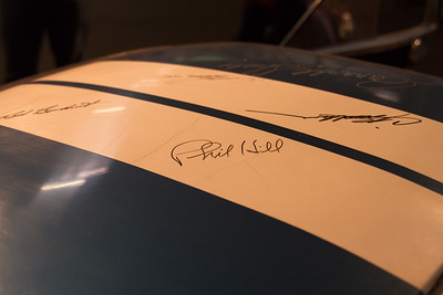 The roof has been signed by Carroll Shelby, Bob Bondurant, Phil Hill, Craig Breedlove and Pete Brock