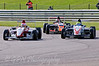 Alice Powell (Hillspeed) leads Luke Wright (SWB Motorsport) & Dino Zamparelli (Antel Motorsport) - Protyre Formula Renault BARC Championship