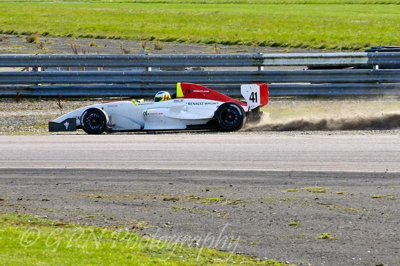 Mitchell Hale (Fortec Motorsport) regains the track after his spin - Protyre Formula Renault BARC Championship