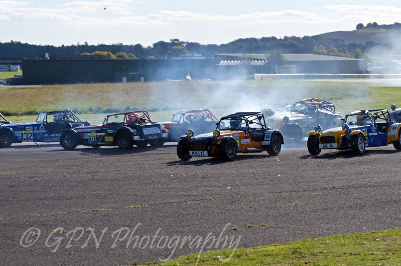 Crash at the complex for the Super Caterham race
