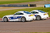 Michael Day attempts to go round the outside of Charlie Robertson - Ginetta Junior Championship