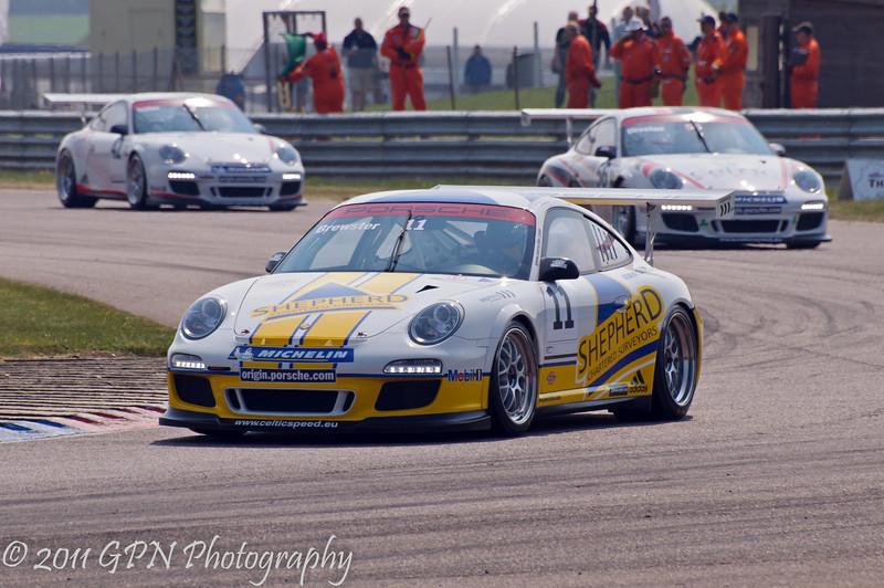 George Brewster leads the field around the complex - Porsche Carrera Cup