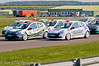 The field stream into the complex on the first lap - Renault Clio Cup UK