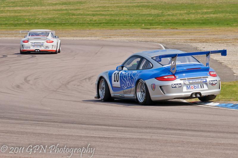 James Sutton over the kerbs - Porsche Carrera Cup