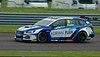 Senna Proctor driving the Adrian Flux Subaru Racing team's Subaru Levorg in the Kwik Fit British Touring Car Championship at Thruxton Circuit.