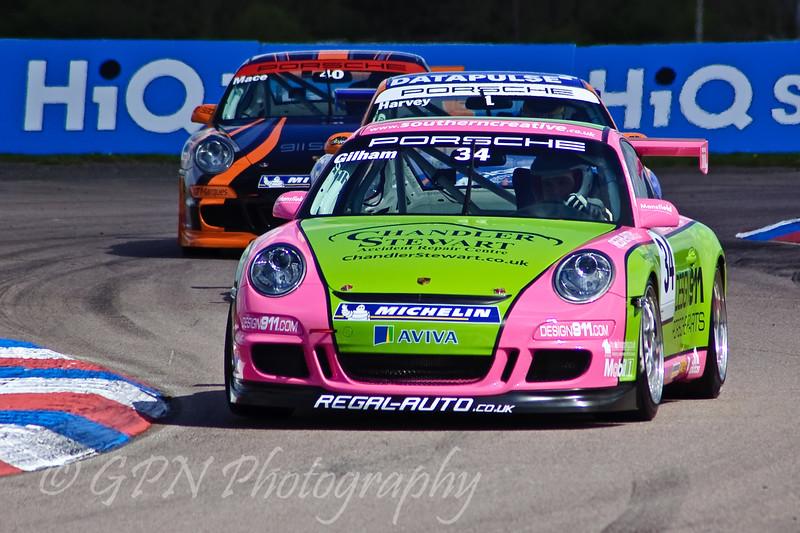 Tony Gilham leads Tim Harvey & Paul Mace (Porsche Carrera Cup)