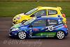 Alex Osbourne dives down the inside of Steve Collison (Renault Clio)