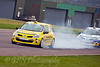 Alex Osbourne locks his brakes, David Sheperd follows (Renault Clio)