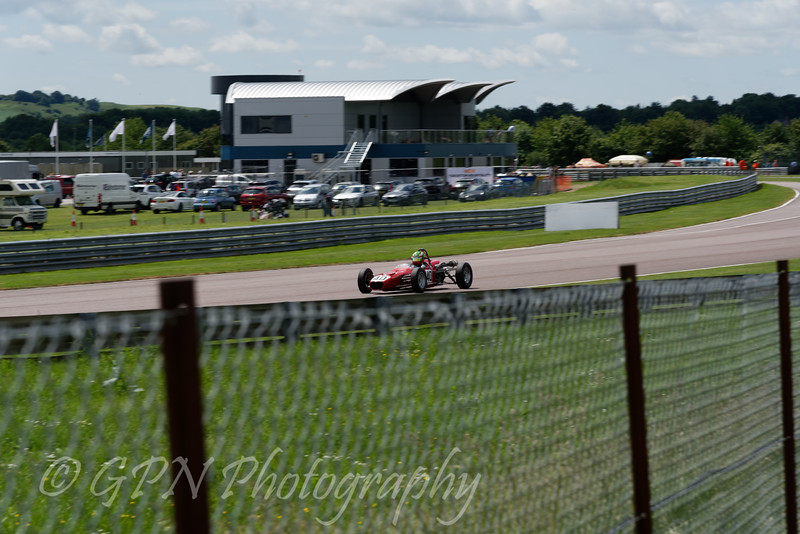 Sam Mitchell driving a Merlyn Mk20 Historic Formula Ford 1600 taken at Thruxton 50th Anniversary Celebration race meeting.
