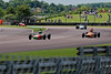 John Emery driving a Lola T200 leads callum Grant driving a Merlyn Mk20a and Ben Mitchell driving a Merlyn Mk20 in Historic Formula Ford 1600  taken at Thruxton 50th Anniversary Celebration race meeting.