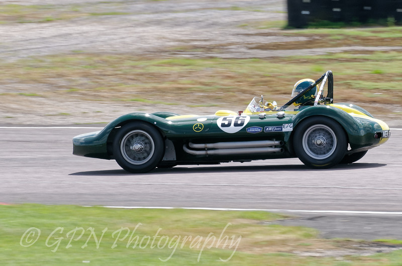 Nick Riley driving a Class WT3a Lister Maserati taken at Thruxton 50th Anniversary Celebration race meeting.