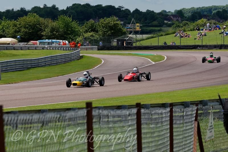 Alex Meek (Merlyn Mk20A) leads Chris Stuart (Crossle 16F) and John Emery (Lola T200) in the Historic Formula Ford 1600 series taken at Thruxton 50th Anniversary Celebration race meeting.
