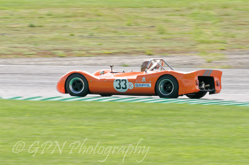 Jon Waggit/Peter Needham driving a Class SRE Lenham P69 taken at Thruxton 50th Anniversary Celebration race meeting.