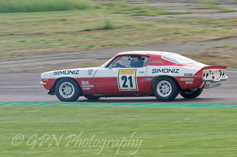 Oliver Bryant driving a class TDT INV Chevrolet Camaro Z28 taken at Thruxton 50th Anniversary Celebration race meeting.