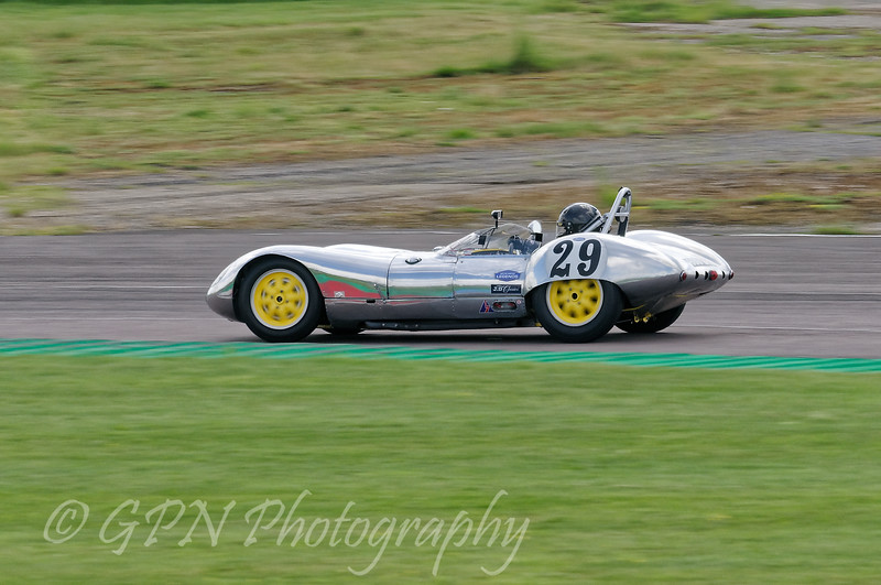 Keith Ahlers/James Bellinger driving a Class SMT1 Lola Mk1 Prototype taken at Thruxton 50th Anniversary Celebration race meeting.