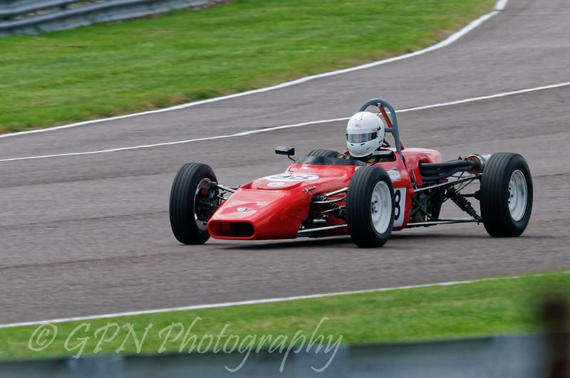 Chris Stuart driving a Class OF FF1600 Crossle 16F taken at Thruxton 50th Anniversary Celebration race meeting.