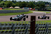 Matthew Wrigley driving a Merlyn Mk11a/20 leads Richard Tarling Jamun T2 as Rob Smith driving a Merlyn Mk20 lets them past in Historic Formula Ford 1600 taken at Thruxton 50th Anniversary Celebration race meeting.