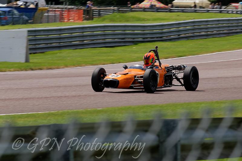 Callum Grant driving a Merlyn Mk20a Historic Formula Ford 1600 taken at Thruxton 50th Anniversary Celebration race meeting.