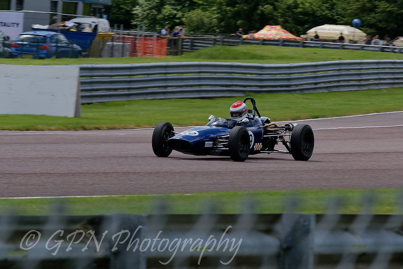 Stephen King driving a Macon MR8 Historic Formula Ford 1600 taken at Thruxton 50th Anniversary Celebration race meeting.