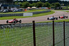 Tiff Needell (Lotus 69F) leads Tim Brise (Merlyn Mk20) and Cormac Flanagan (Alexis Mk14) in the Historic Formula Ford 1600 series taken at Thruxton 50th Anniversary Celebration race meeting.