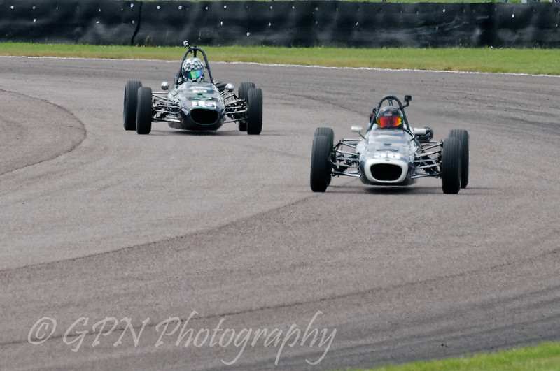 Rob Smith driving a Class OF FF1600 Merlyn Mk20 leads Mathew Wrigley driving a FF1600 Merlyn Mk11A/20 taken at Thruxton 50th Anniversary Celebration race meeting.