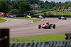 Maxim Bartell driving a Merlyn Mk20a leads a gaggle of Historic Formula Ford 1600 taken at Thruxton 50th Anniversary Celebration race meeting.