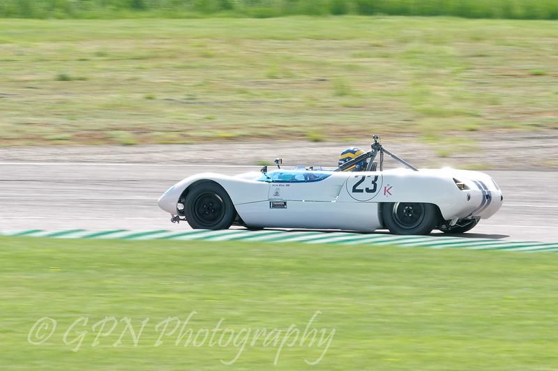 Darren Wilson driving a class SRB Lotus 23B taken at Thruxton 50th Anniversary Celebration race meeting.