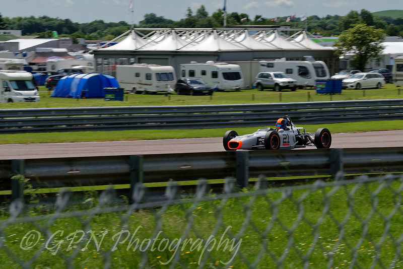 Ross Drybrough driving a Merlyn Mk20 AS Historic Formula Ford 1600 taken at Thruxton 50th Anniversary Celebration race meeting.