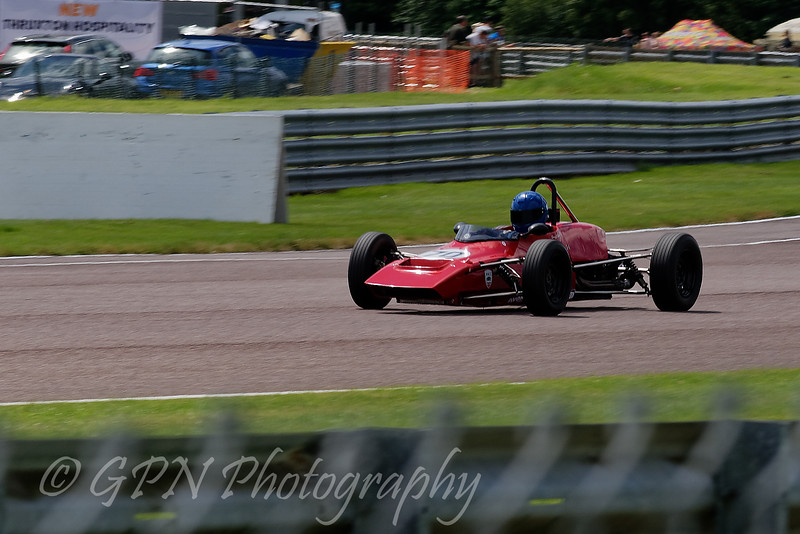 Danial Stanzl driving a Elden Mk8 Historic Formula Ford 1600 taken at Thruxton 50th Anniversary Celebration race meeting.