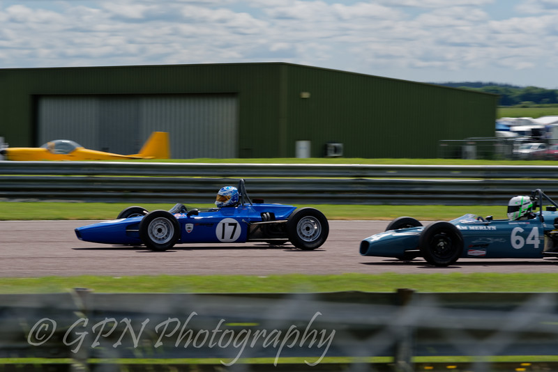 Brian Morris (Lola T200) overtakes Benjamin Tusting (Merlyn Mk20A) in the Historic Formula Ford 1600 series taken at Thruxton 50th Anniversary Celebration race meeting.