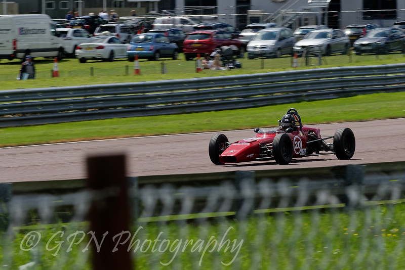 Kevin Stanzl driving a Crossle 20F Historic Formula Ford 1600 taken at Thruxton 50th Anniversary Celebration race meeting.