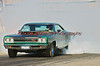 A 1968 Dodge Coronet R/T doing a long, smokey burnout heating up the rear tires to make them even stickier for the important start in the race at the ESTA Safety Park Dragstrip on Sunday, May 16, 2010.