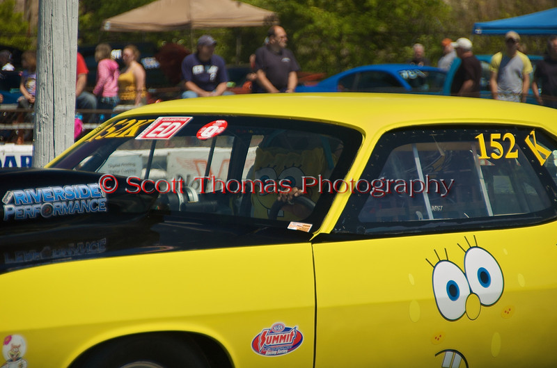 SpongeBob goes for a run at the ESTA Safety Park Dragstrip in Cicero, New York on Sunday, May 16, 2010.