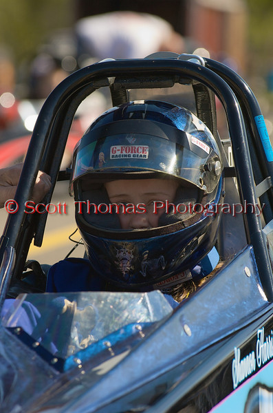 A young Junior Dragster driver before her race at the ESTA Safety Park Dragstrip on Sunday, May 16, 2010.