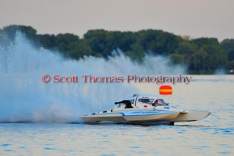 John Krebs drives the National Modifed Just Crazy (NM-233) at the HydroBowl on Seneca Lake in Geneva, New York.